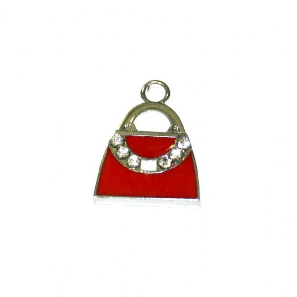 1pce x 17*15mm Rhodium plated red handbag with clear rhinestone enamel charm - SD03 - CHE1116